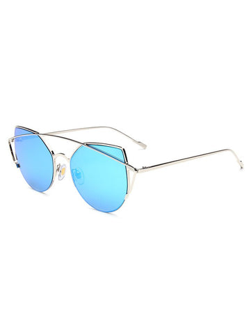 Hipsters Crossbar Cat Eye Mirrored Sunglasses