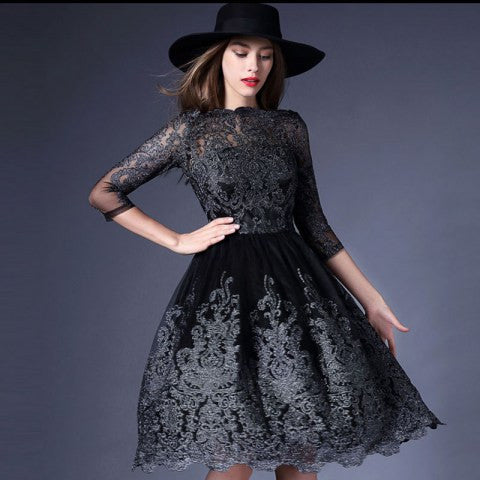 Embroidered Mesh Middle Sleeve Dress