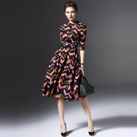 A-Line Dress Stand Collar Geometric Print