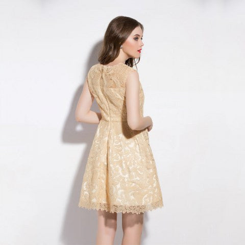 Apricot Dress Mini Lace Sleeveless Party