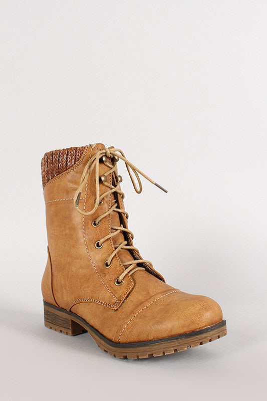 Sweater Collar Military Lace Up Boot