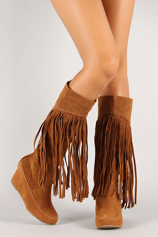 Suede Fringe Knee High Wedge Boot