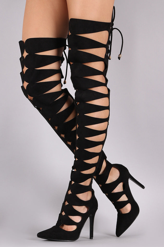 Suede Keyhole Cutout Pointy Toe Lace Up Stiletto Boots