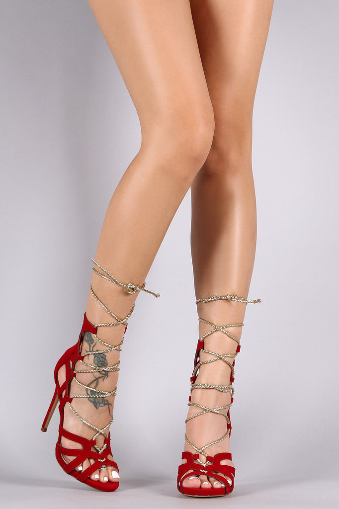 Liliana Scalloped Caged Gold Rope Lace-Up Open Toe Heels