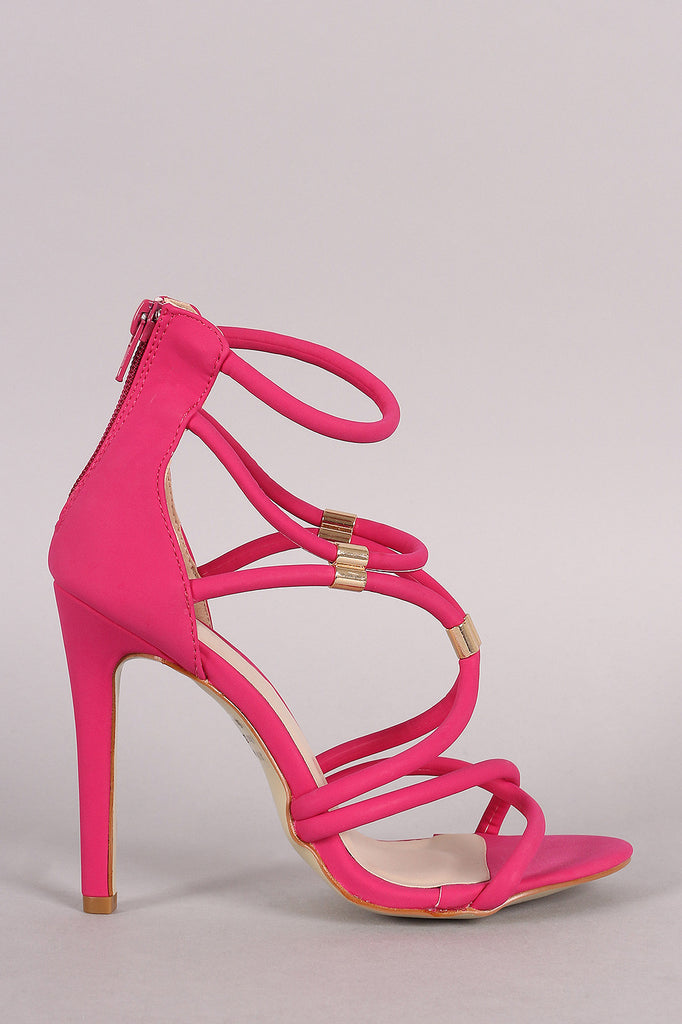 Nubuck Strappy Hardware Embellished Open Toe Heel