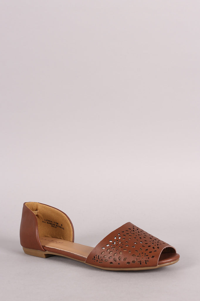 Bamboo Perforated Peep Toe Flat