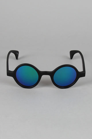 Matte Horn Rim Mirrored Sunglasses