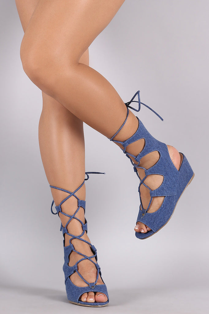 Liliana Denim Lace Up Mid Calf Gladiator Wedge