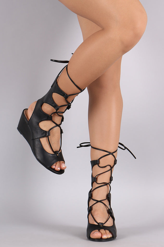 Liliana Lace Up Mid Calf Gladiator Wedge