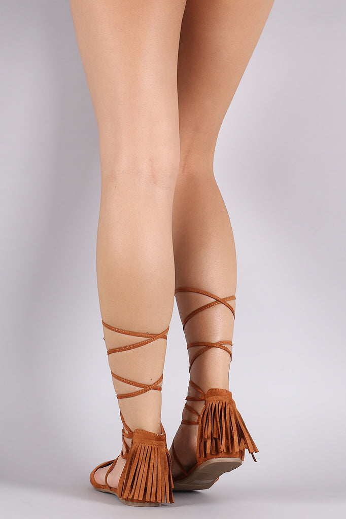 Wild Diva Lounge Suede Fringe Lace Up Pointy Toe Flat