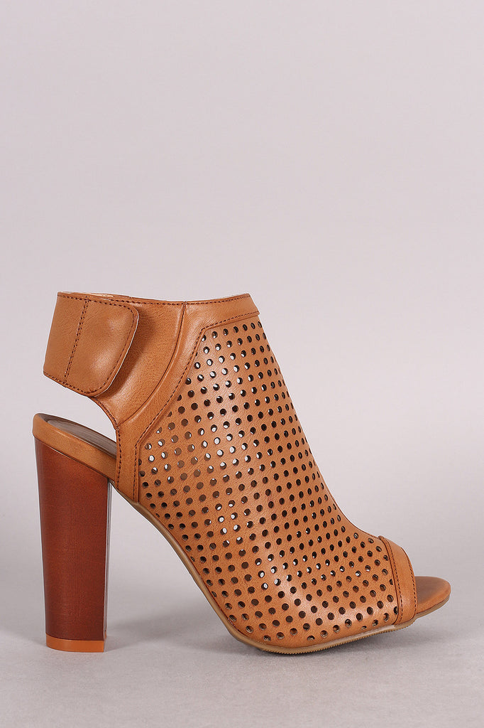 Bamboo Perforated Peep Toe Chunky Mule Heel