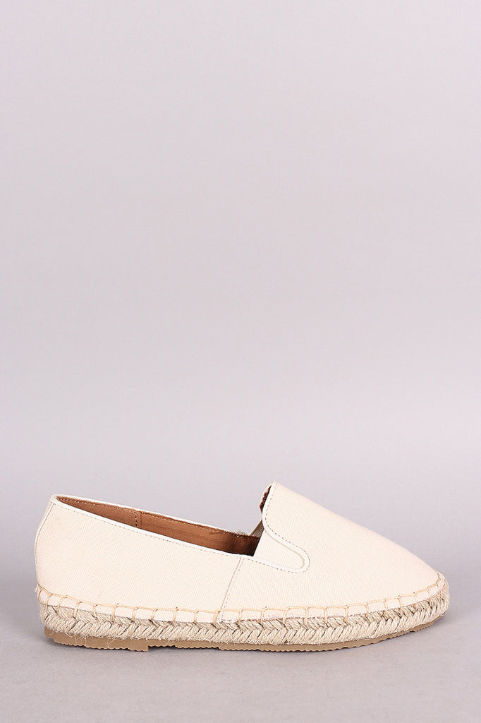 Bamboo Canvas Smoking Slip-On Espadrille Flat