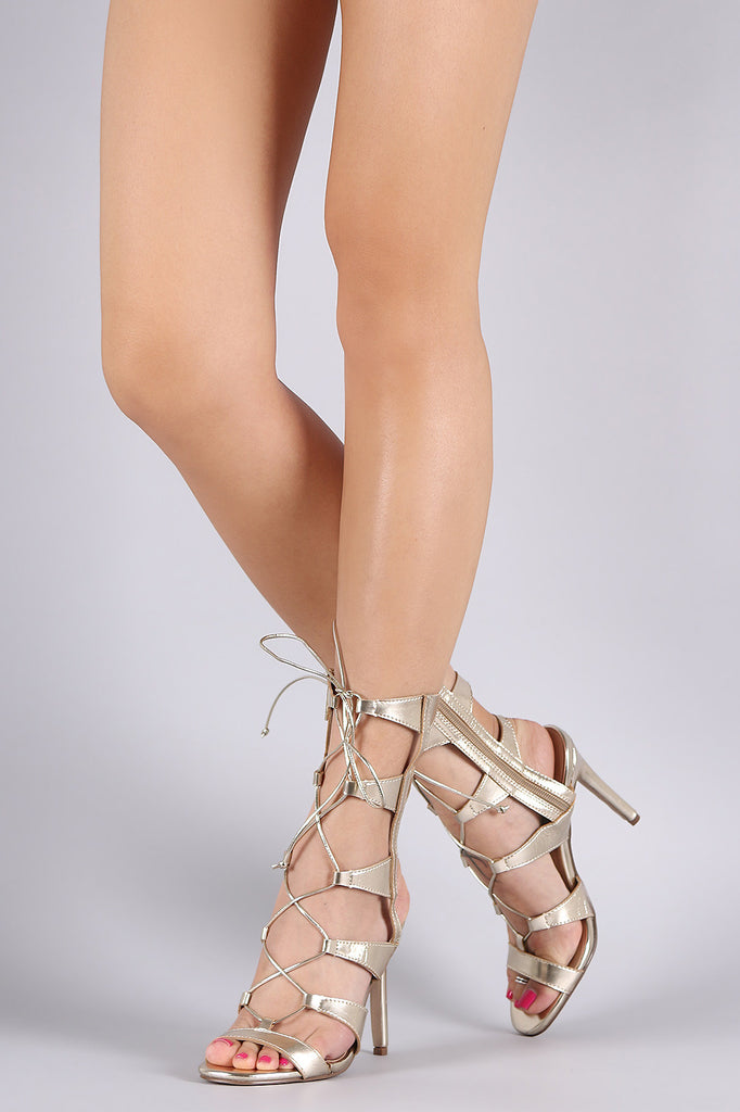 Breckelle Strappy Corset Lace Up Stiletto Heel
