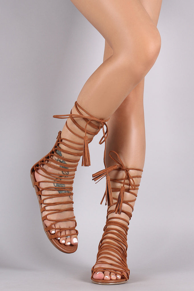 Strappy Tassel Lace Up Flat Sandal