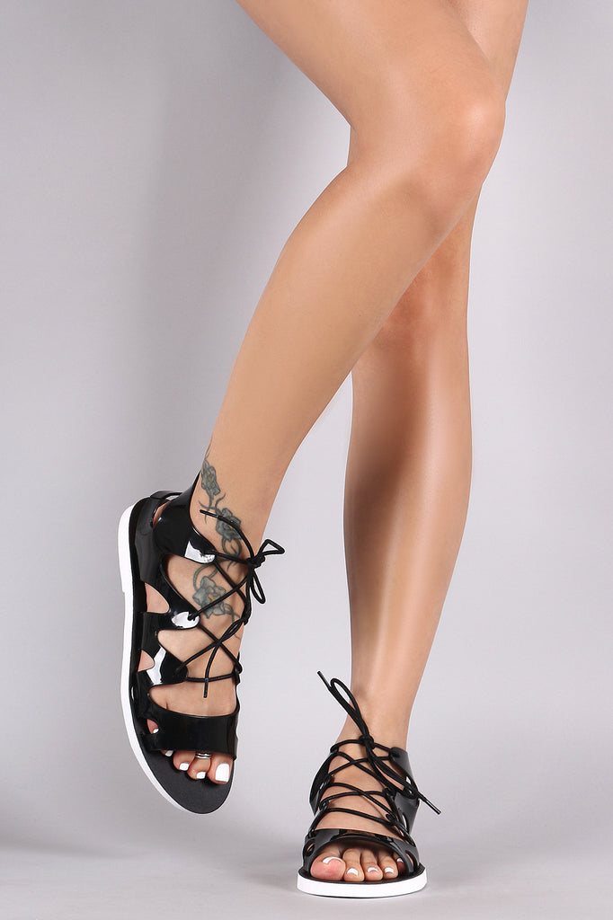 Bamboo Jelly Lace Up Gladiator Sandal