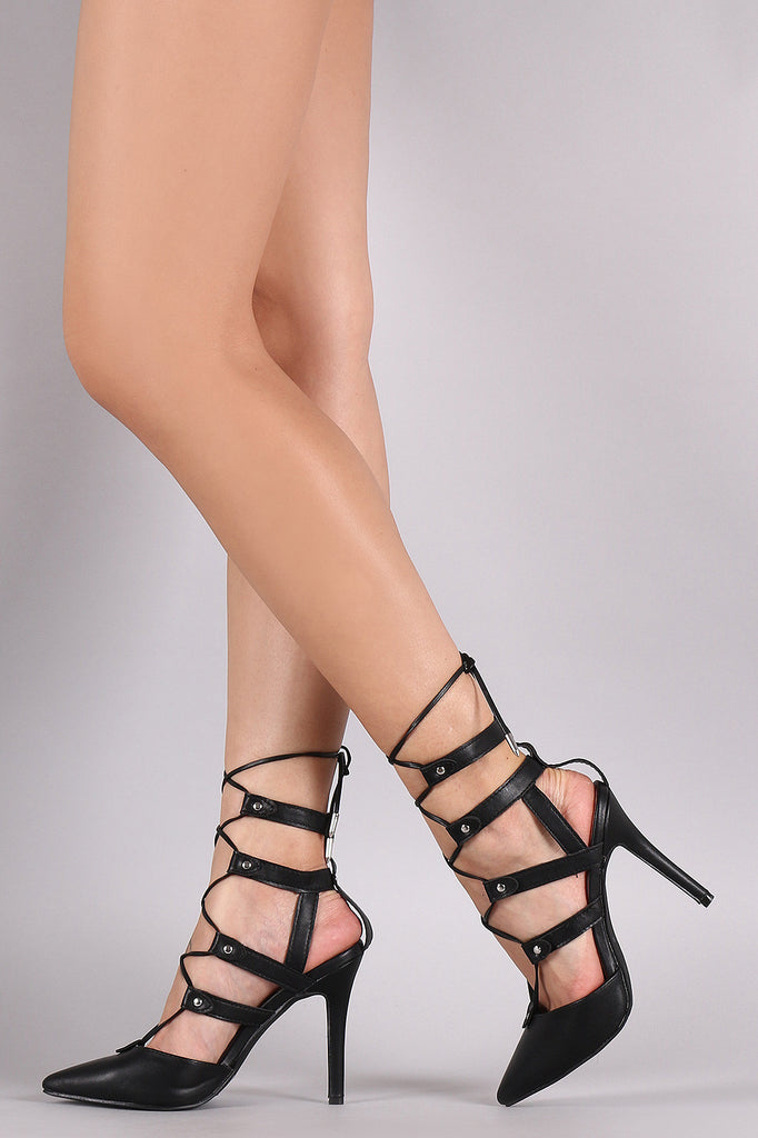 Breckelle Studded Pointy Toe Lace-Up Pump