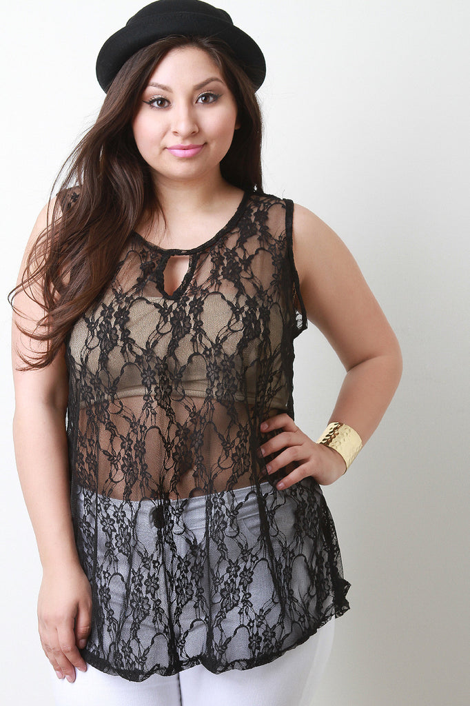 Semi-Sheer Floral Lace Keyhole Sleeveless Top