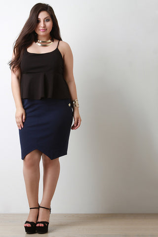 Boat Neck Spaghetti Peplum Crop Top