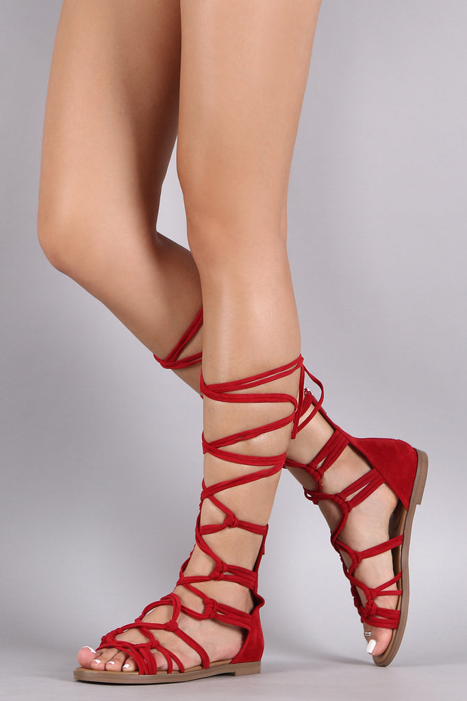 Breckelle Suede Strappy Knotted Lace Up Gladiator Flat Sandal