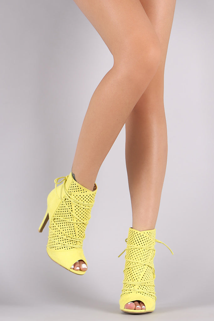 Suede Perforated Lace-Up Peep Toe Stiletto Booties