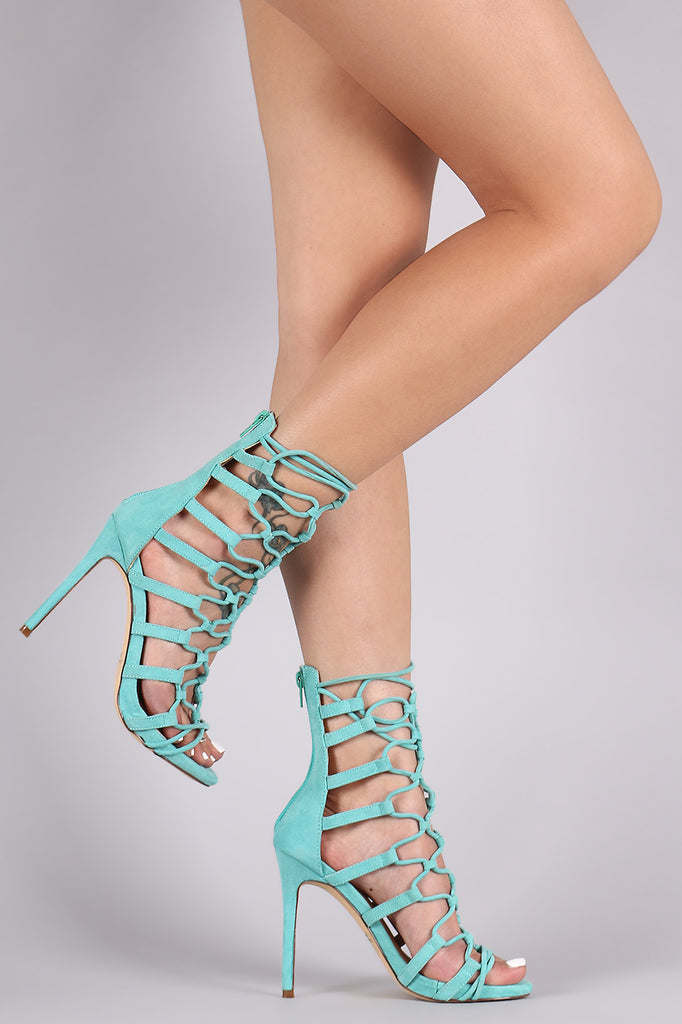 Suede Open Toe Strappy Caged Stiletto Heel