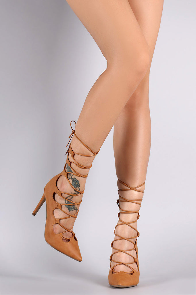 Breckelle Pointy Toe Lace-Up Pump