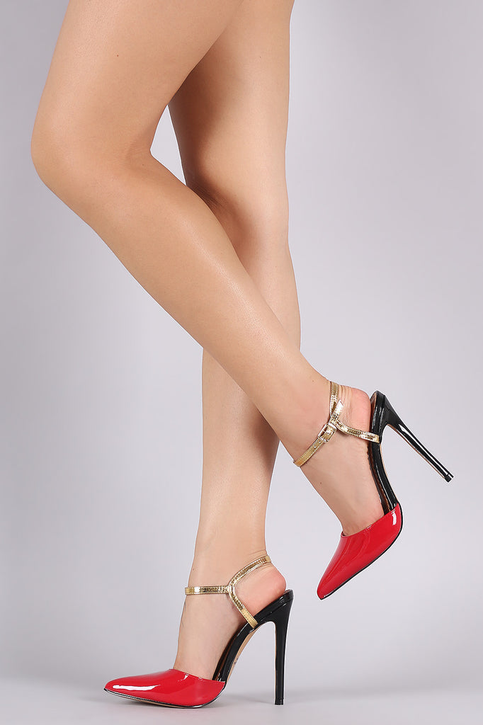 Patent Colorblock Pointy Toe Ankle Strap Pump