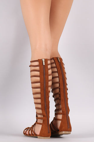 Bamboo Suede Strappy Studded Lace-Up Gladiator Sandal
