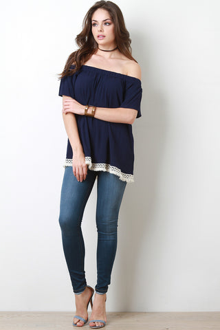 Bardot Fringe Trim Top