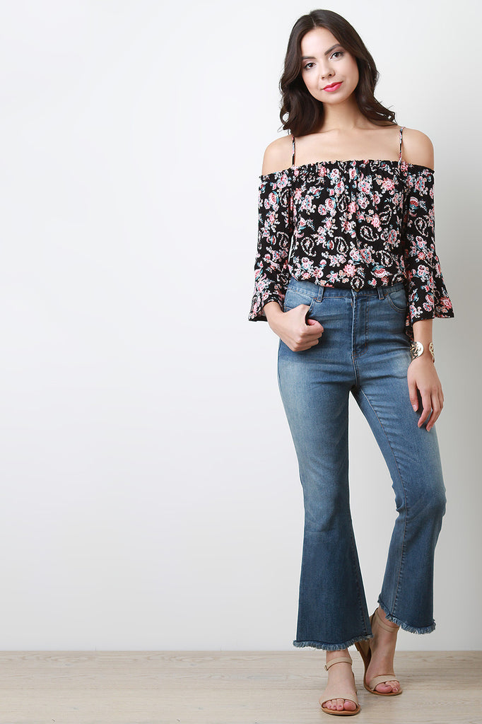 High Waisted Bell Bottom Frayed Hem Crop Denim Jeans