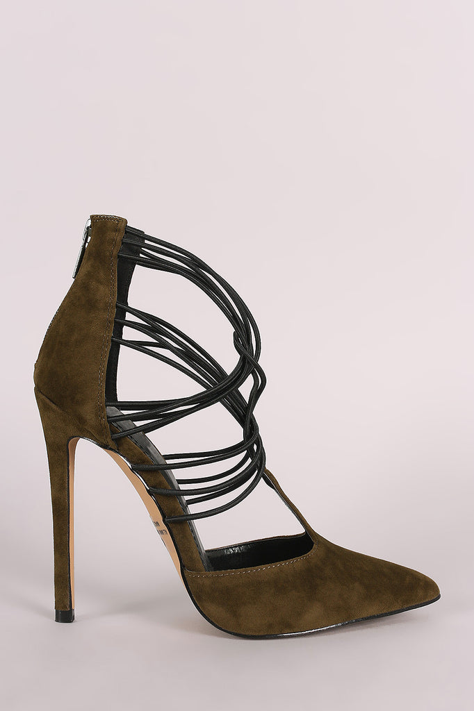 Suede Strappy Elasticized Cuff Pointy Toe Pump