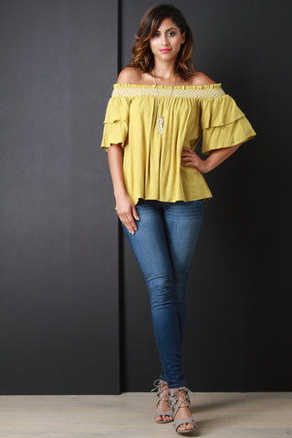 Bardot Flutter Sleeve Top