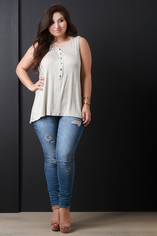 Casual Button Vent Back Tank Top