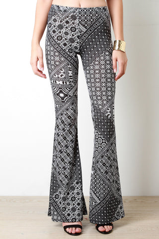 Geo Bohemian Print Bell Bottom Pants