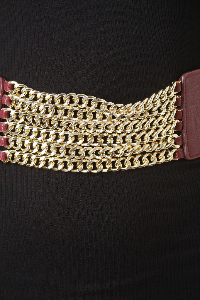 Wide Chain Detail Elastic Belt