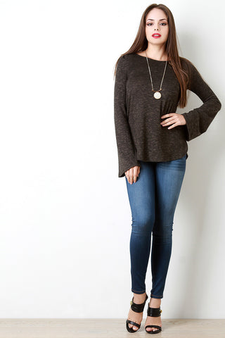 Back Crochet Trim Longsleeve Top