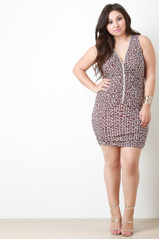 Cheetah Bodycon Ruched Dress