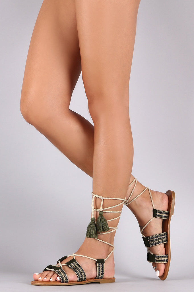 Bamboo Embroidered Ribbon Lace Up Flat Sandals
