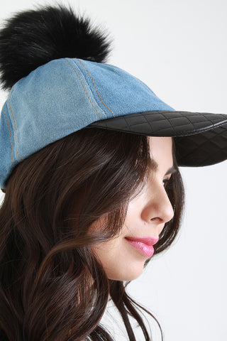 Quilted Leather Bill Pom Pom Baseball Cap