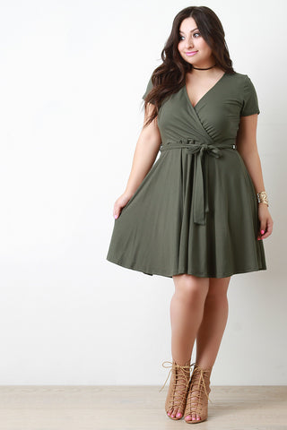 Casual Surplice Shortsleeve Skater Dress