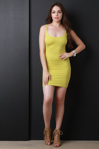 Seamless Hem Jersey Knit Cami Bodycon Dress