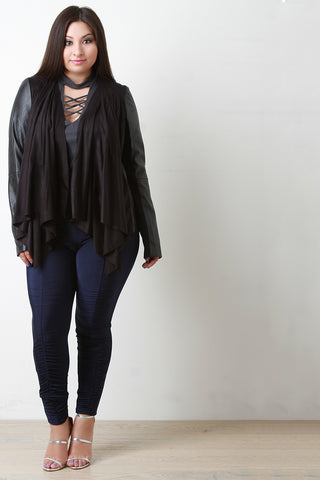 Draped Suede Collarless Leather Jacket