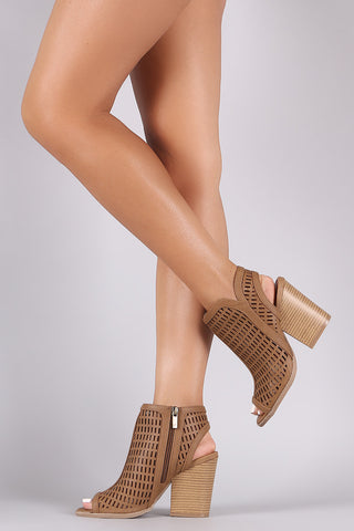 Qupid Geo Perforated Chunky Mule Heeled Booties