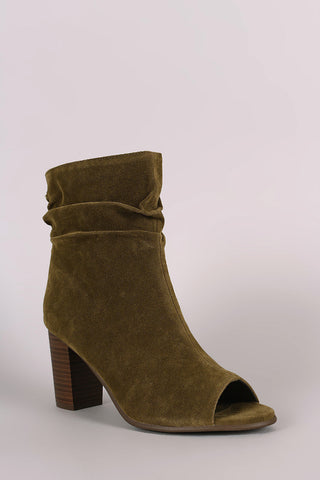 Breckelle Slouched Open Toe Stacked Heel Ankle Boot