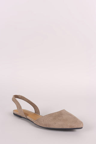 Bamboo Suede Pointy Toe Slingback Flat
