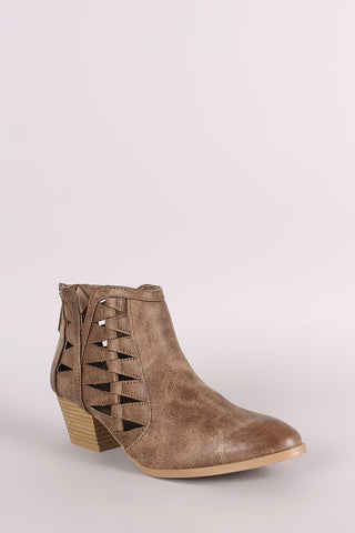 Distressed Cutout Almond Toe Western Booties
