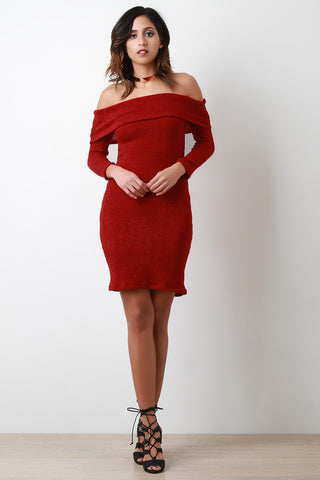 Banded Off-The-Shoulder Long Sleeves Sweater Dress