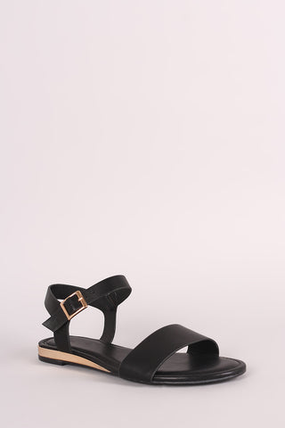 Bamboo Open Toe Ankle Strap Flat Sandal