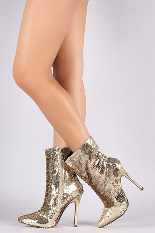 Sequin Pointy Toe Stiletto Ankle Boots
