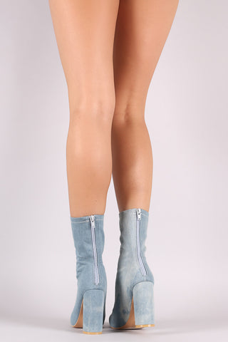 Faded Denim Pointy Toe Chunky Heeled Boots